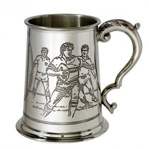 Personalised Rugby Pewter Tankard